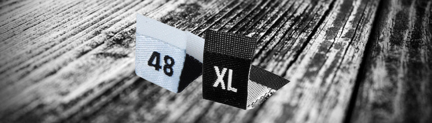 garment size labels, clothing size labels, printed size labels, woven size labels, clothing size tags