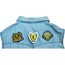 custom design of woven badges on garments for jeans, tshirt